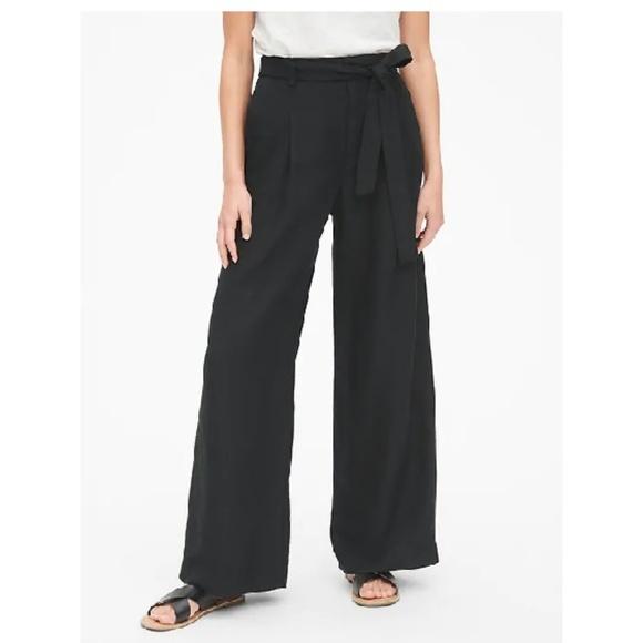 GAP Pants - NWT Gap Linen High Rise Wide Leg Pants 6 Black c39
